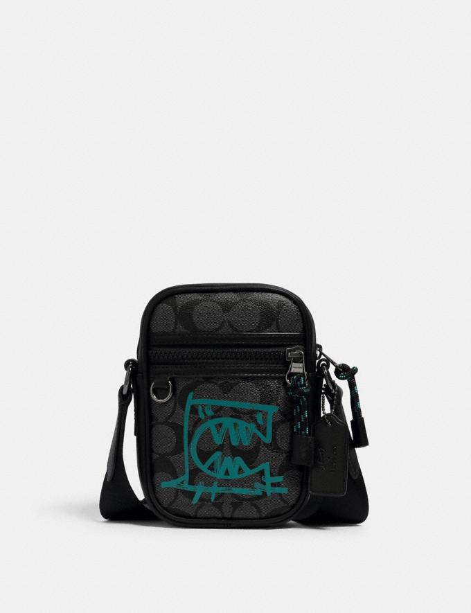 Coach Terrain Crossbody in Signature Canvas With Rexy by Guang Yu Qb/Graphite Blue Green Men Bags
