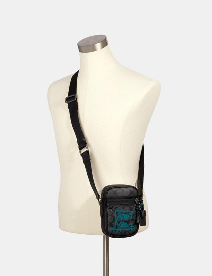 Coach Terrain Crossbody in Signature Canvas With Rexy by Guang Yu Qb/Graphite Blue Green Men Bags Alternate View 2