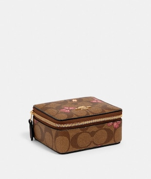 JEWELRY BOX IN SIGNATURE CANVAS WITH BUTTERFLY PRINT