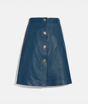 LEATHER SKIRT WITH TURNLOCKS
