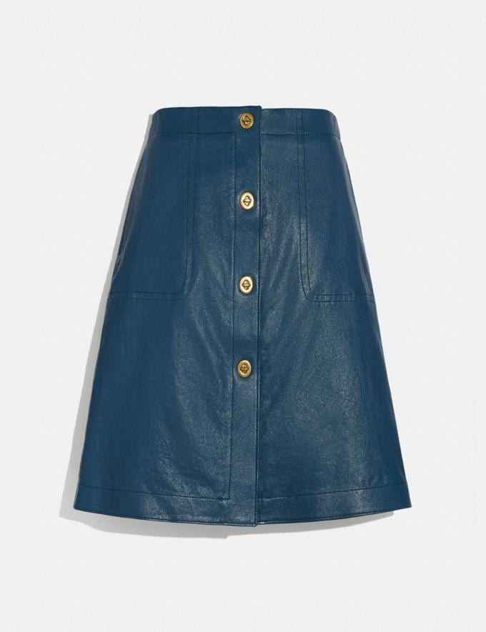 Coach Leather Skirt With Turnlocks Almost Navy Women Ready-to-Wear Bottoms