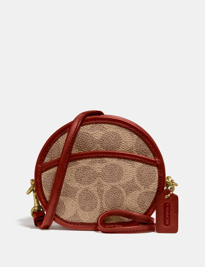 Coach Circle Coin Case in Signature Canvas B4/Tan Rust Women Small Leather Goods Small Wallets