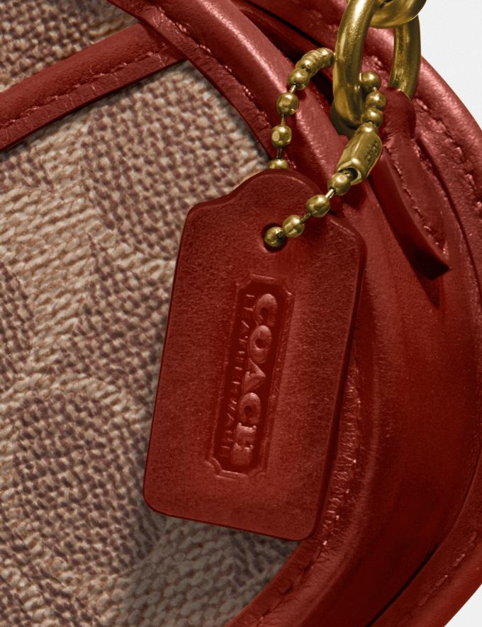 Coach Circle Coin Case in Signature Canvas B4/Tan Rust Women Small Leather Goods Small Wallets Alternate View 4