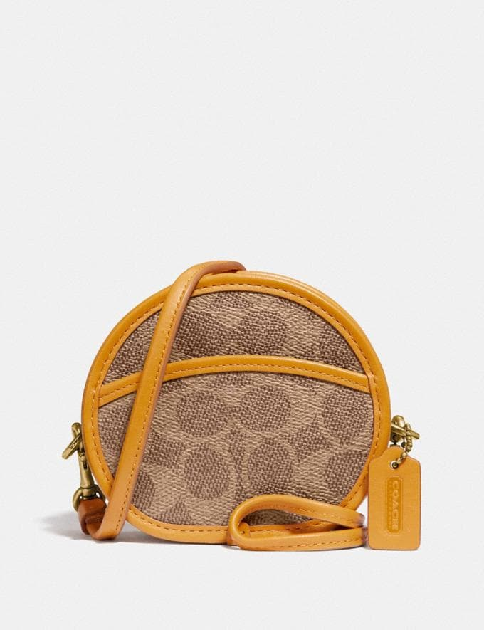 Coach Circle Coin Case in Signature Canvas B4/Tan Buttercup Women Small Leather Goods Small Wallets