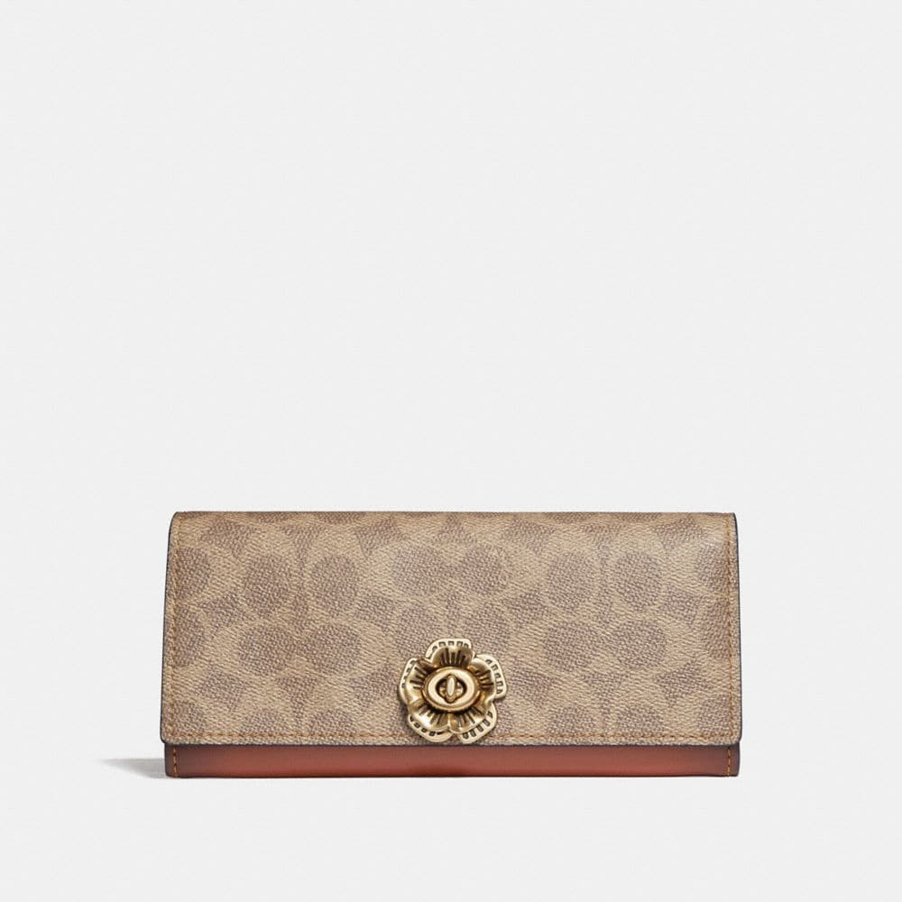 Coach Envelope Wallet in Colorblock Signature Canvas With Tea Rose Turnlock