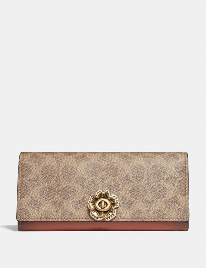 Coach Envelope Wallet in Colorblock Signature Canvas With Tea Rose Turnlock Tan Rust Women Wallets & Wristlets Large Wallets