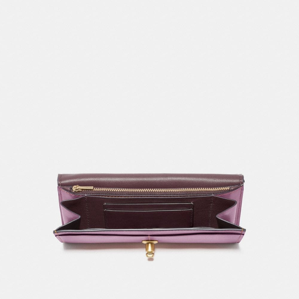 Coach Envelope Wallet in Colorblock Signature Canvas With Tea Rose Turnlock Alternate View 1