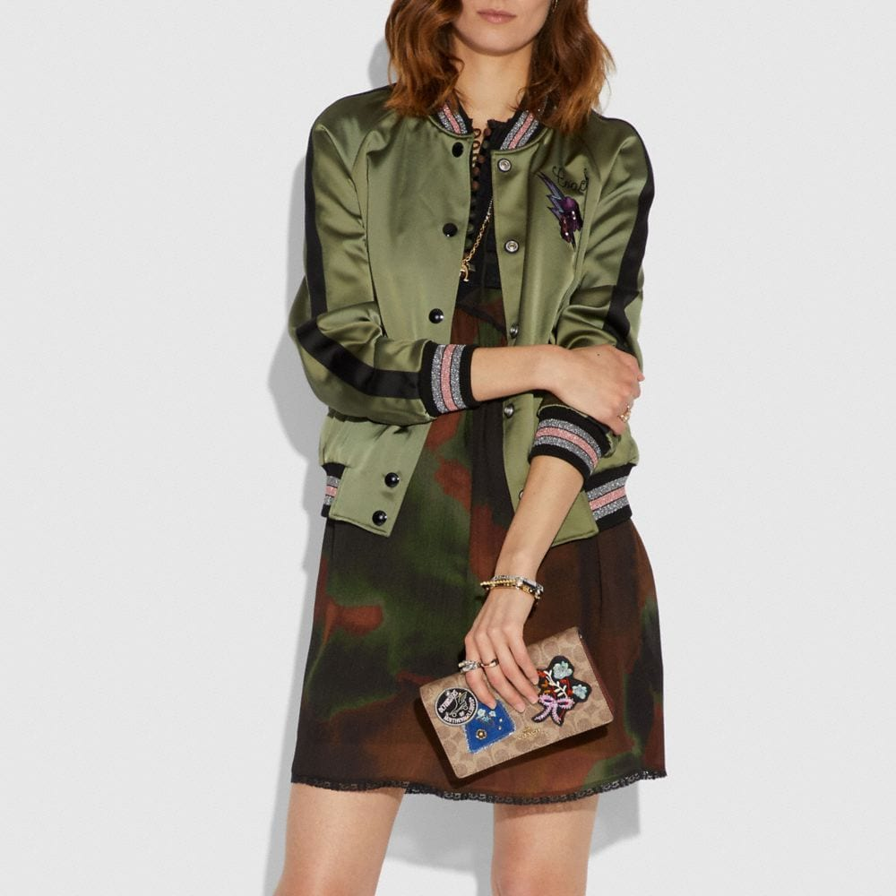 Coach Foldover Chain Clutch in Signature Canvas With Patchwork Alternate View 4