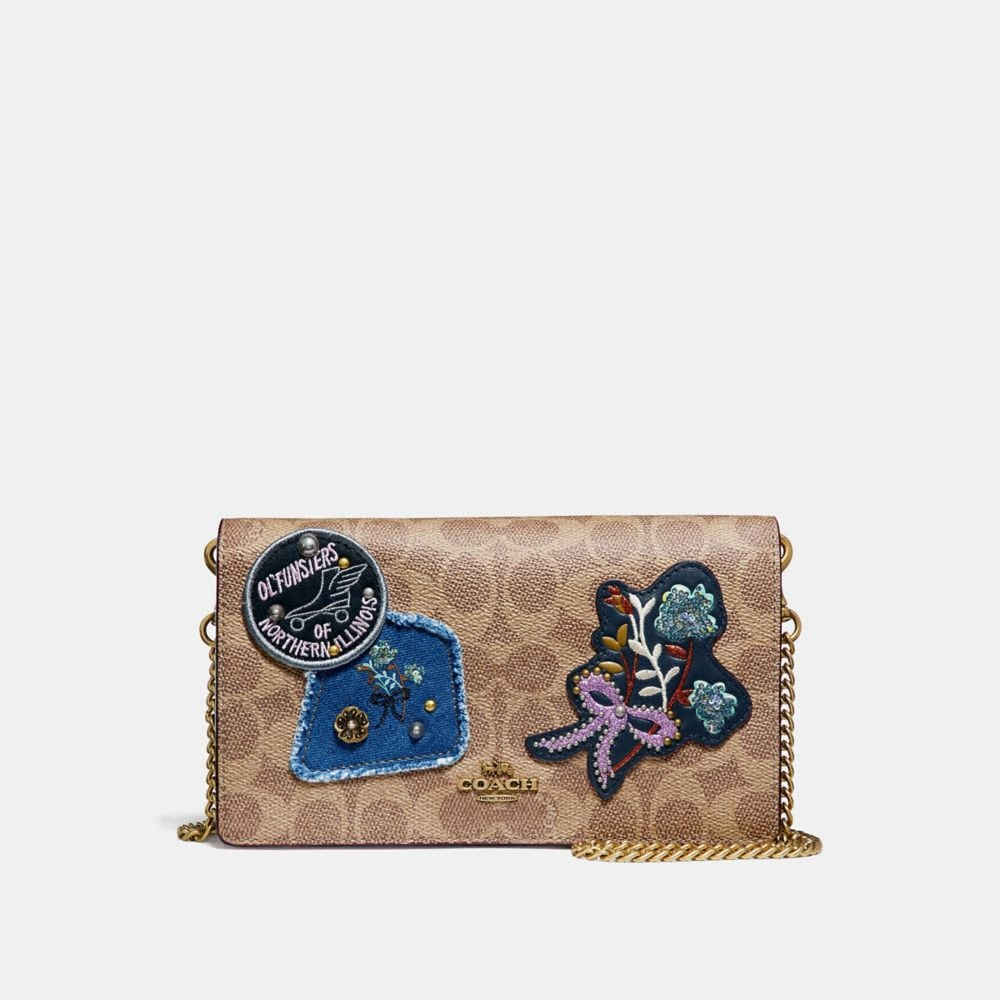 Coach Foldover Chain Clutch in Signature Canvas With Patchwork