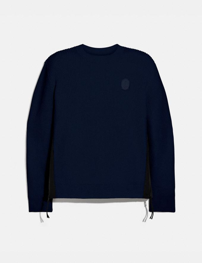 Coach Ribbed Knit Sweater Navy Men Ready-to-Wear Clothing