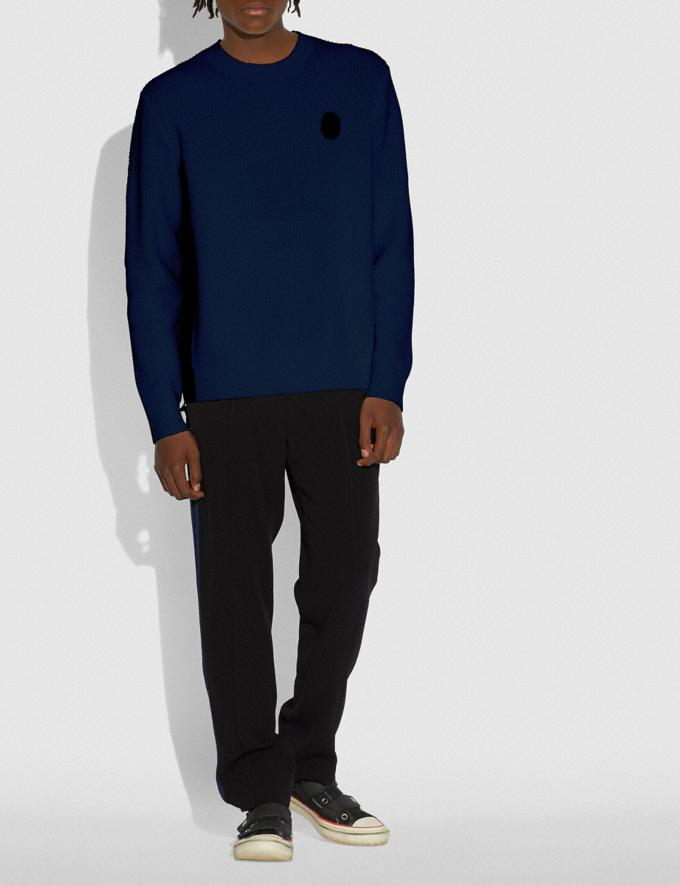 Coach Ribbed Knit Sweater Navy Men Ready-to-Wear Clothing Alternate View 1