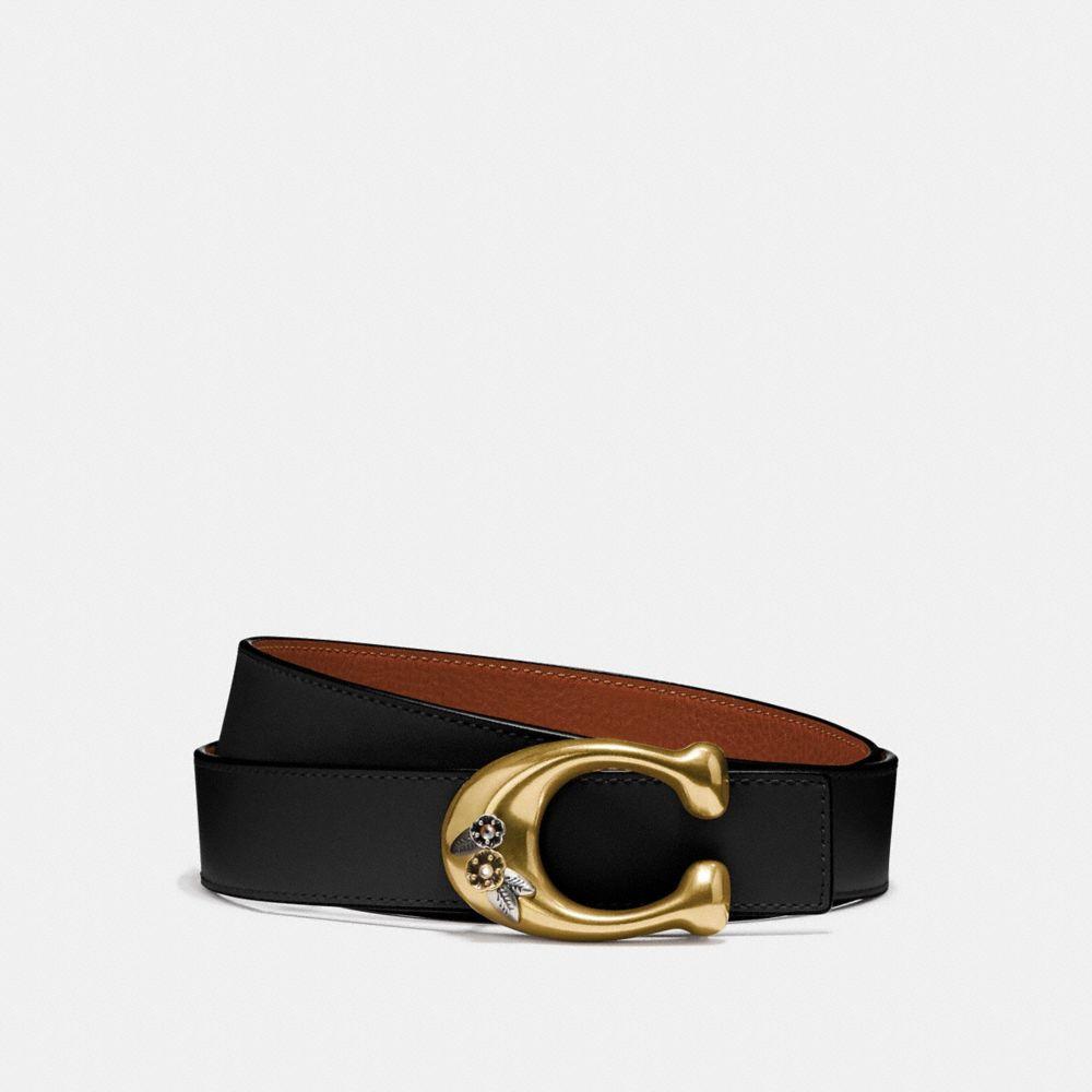 Coach Tea Rose Sculpted Signature Reversible Belt