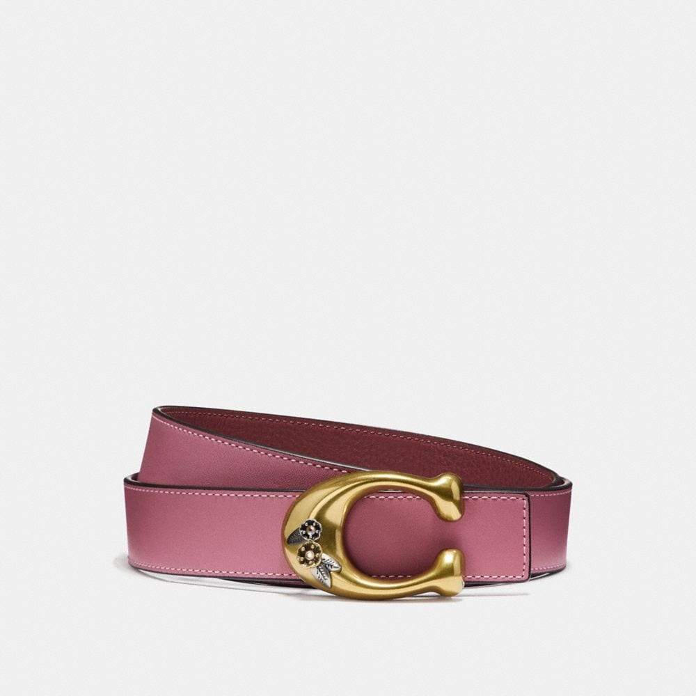 Coach Tea Rose Sculpted Signature Reversible Belt
