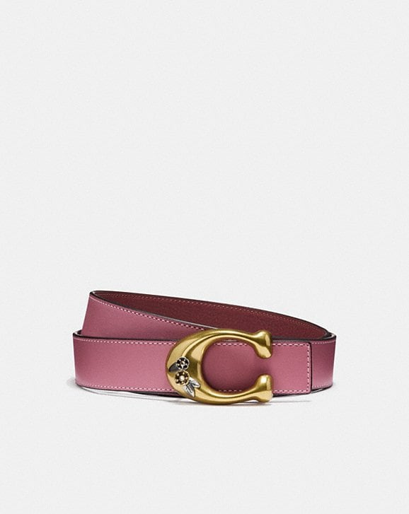 Coach TEA ROSE SIGNATURE BUCKLE REVERSIBLE BELT, 32MM