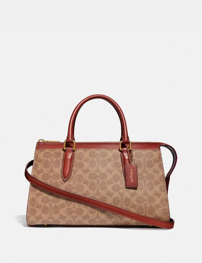 Coach Bond Bag in Signature Canvas Tan/Rust/Brass Women Bags Signature Bags