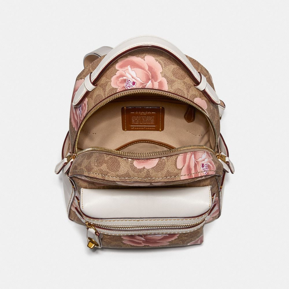 Coach Campus Backpack 23 in Signature Rose Print Alternate View 2