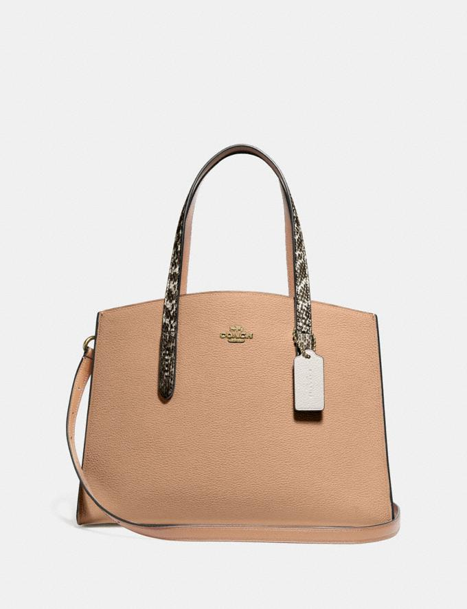 Coach Charlie Carryall With Colorblock Snakeskin Detail Beige Women Bags Satchels