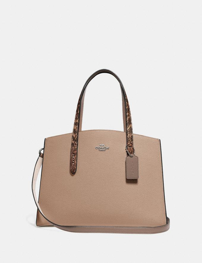 Coach Cabas Charlie Avec DÉTail En Peau De Serpent Color Block Nickel Clair/Taupe Multi Femme collection Charlie