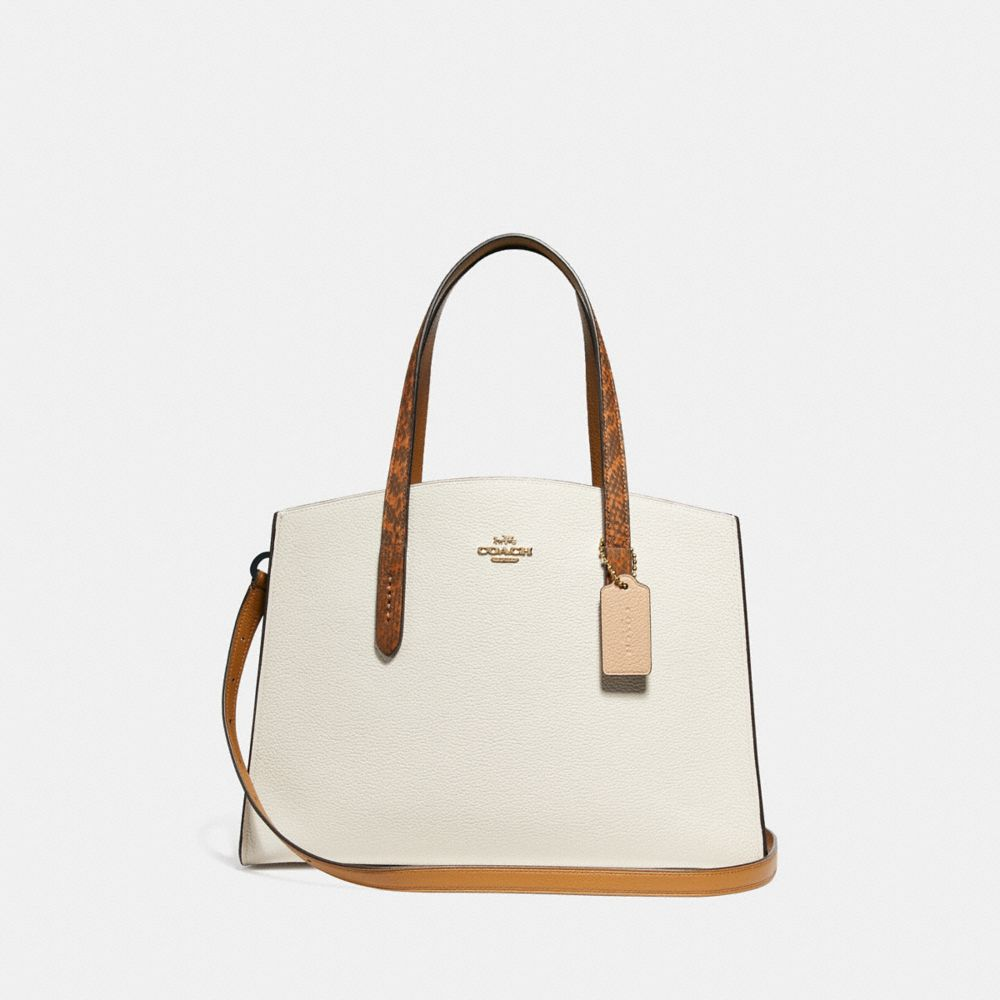 Coach Charlie Carryall With Colorblock Snakeskin Handles