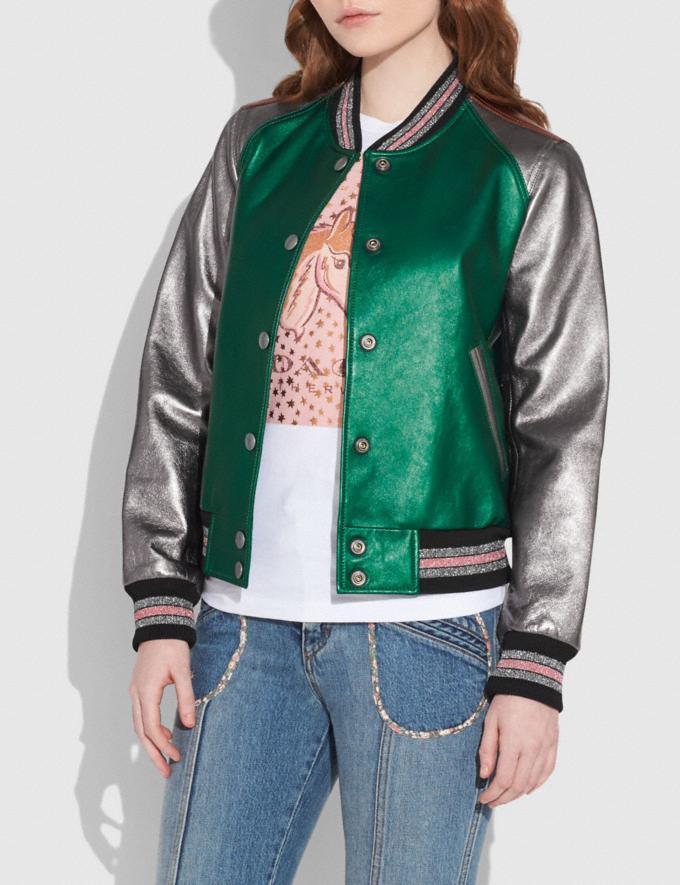Coach Leather Varsity Jacket Metallic Green Translations null