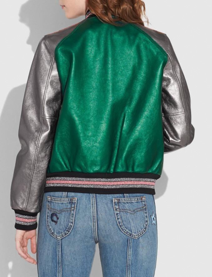 Coach Leather Varsity Jacket Metallic Green Translations null Alternate View 2