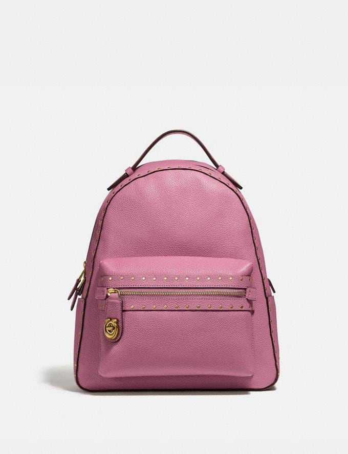 Coach Campus Backpack With Rivets Chalk/Black Copper Women Bags Backpacks