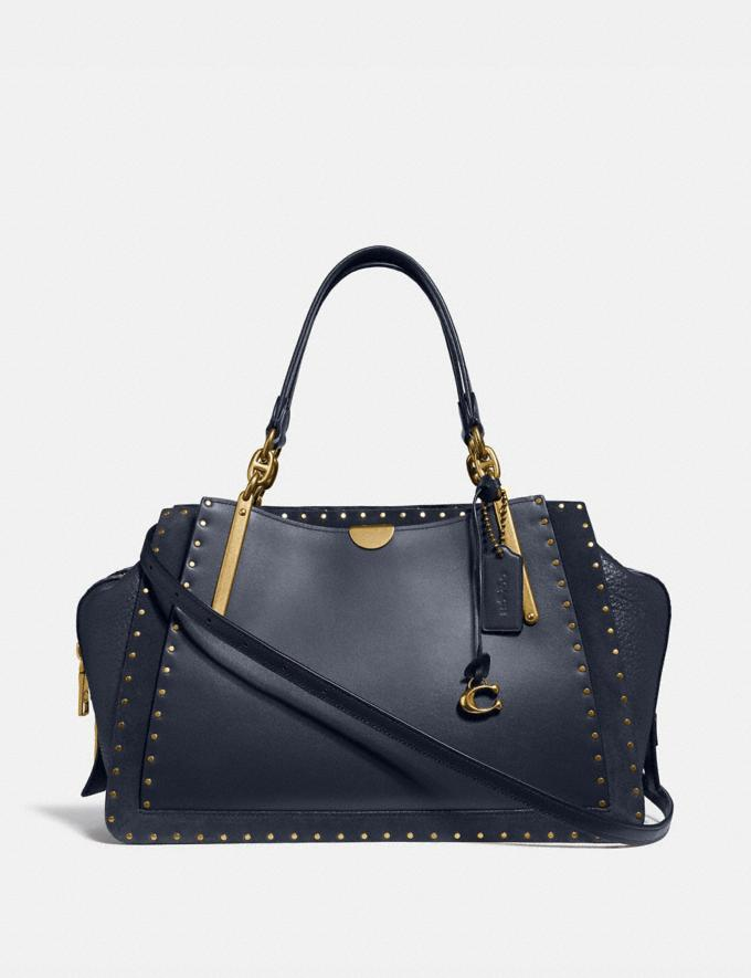 Coach Dreamer 36 With Rivets Midnight Navy/Brass Women Collection Dreamer