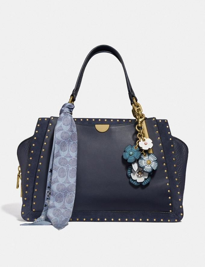 Coach Dreamer 36 With Rivets Midnight Navy/Brass Women Bags Satchels & Carryalls Alternate View 3