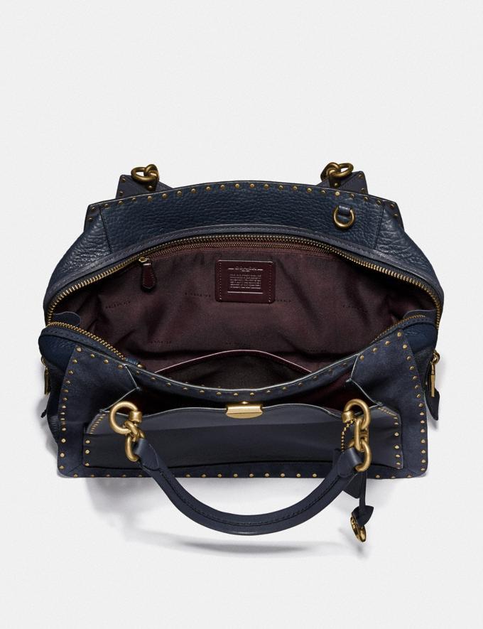 Coach Dreamer 36 With Rivets Midnight Navy/Brass Women Bags Satchels & Carryalls Alternate View 2