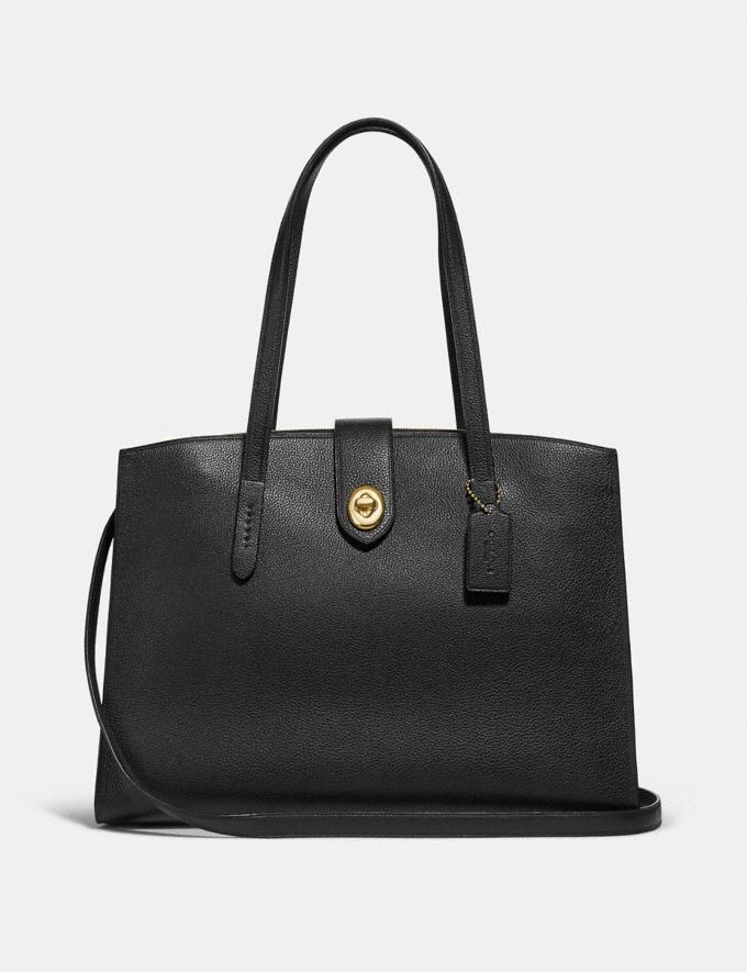Coach Turnlock Charlie Carryall Black/Light Gold Women Bags Satchels