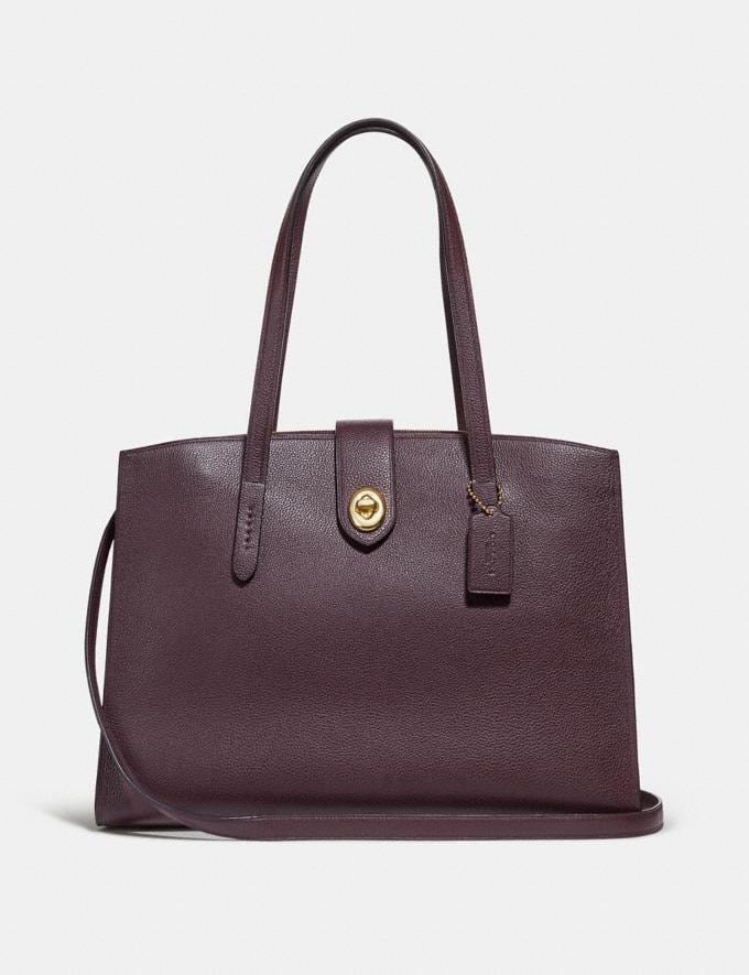Coach Turnlock Charlie Carryall Oxblood/Light Gold Women Bags Satchels