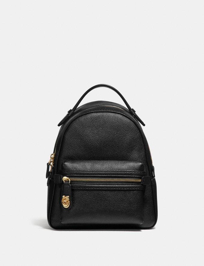 Coach Campus Backpack 23 Black/Light Gold Women Bags Backpacks