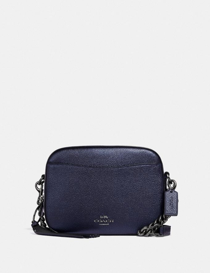 Coach Camera Bag Gm/Metallic Midnight Blue New Women's New Arrivals Small Leather Goods