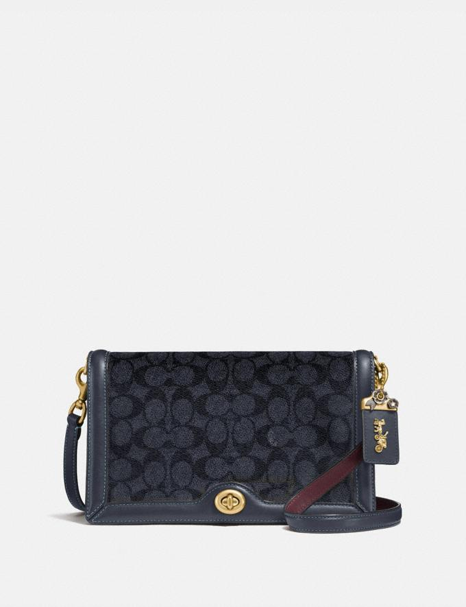 Coach Riley in Signature Canvas Charcoal/Midnight Navy/Brass Bags