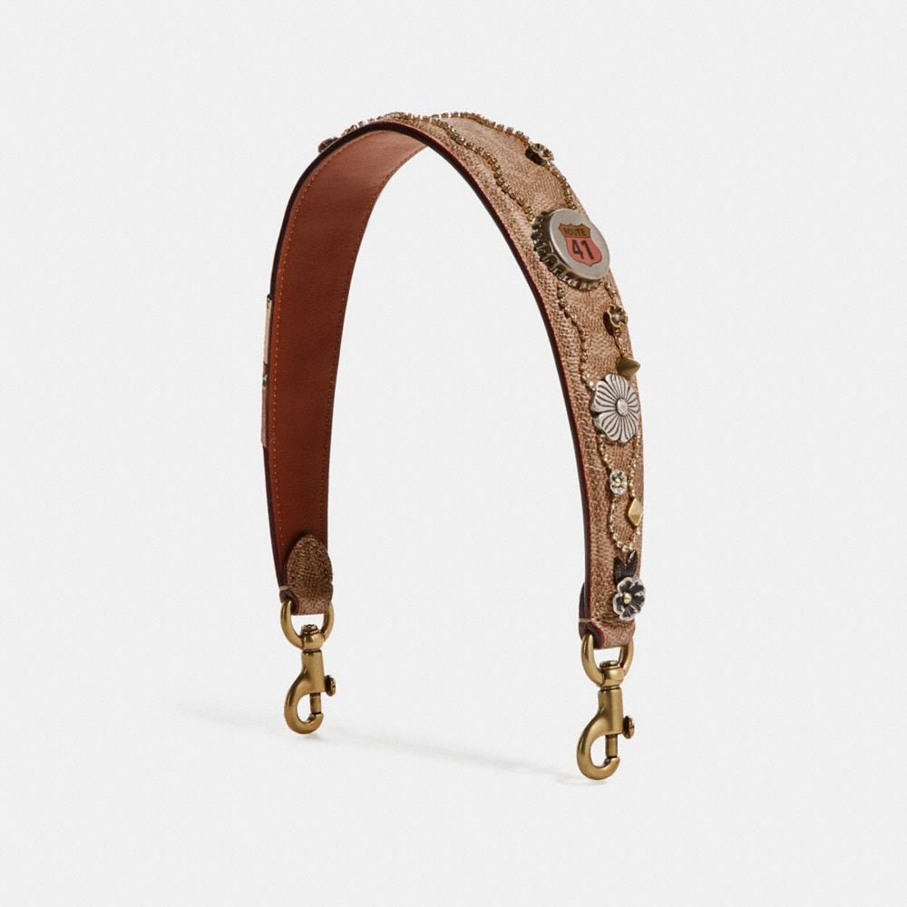NOVELTY STRAP IN SIGNATURE CANVAS WITH EMBELLISHMENT