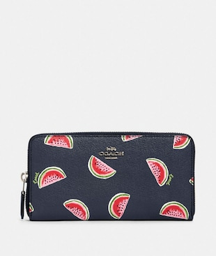 ACCORDION ZIP WALLET WITH WATERMELON PRINT