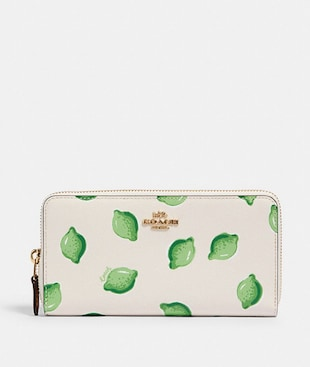 ACCORDION ZIP WALLET WITH LIME PRINT