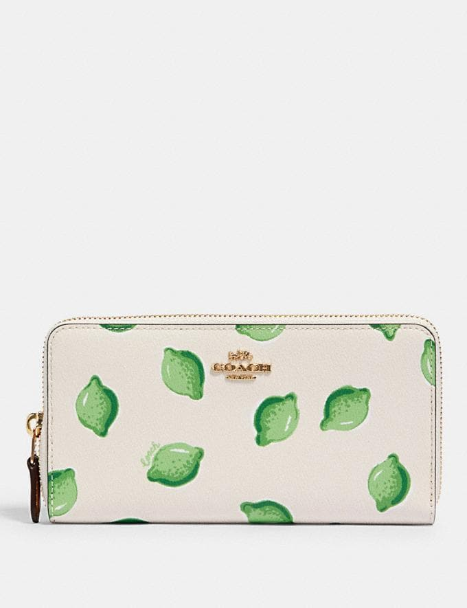 Coach Accordion Zip Wallet With Lime Print Im/Chalk Green Multi Accessories Wallets