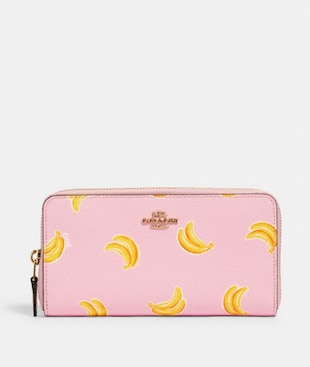 ACCORDION ZIP WALLET WITH BANANA PRINT