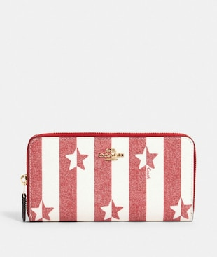 ACCORDION ZIP WALLET WITH STRIPE STAR PRINT