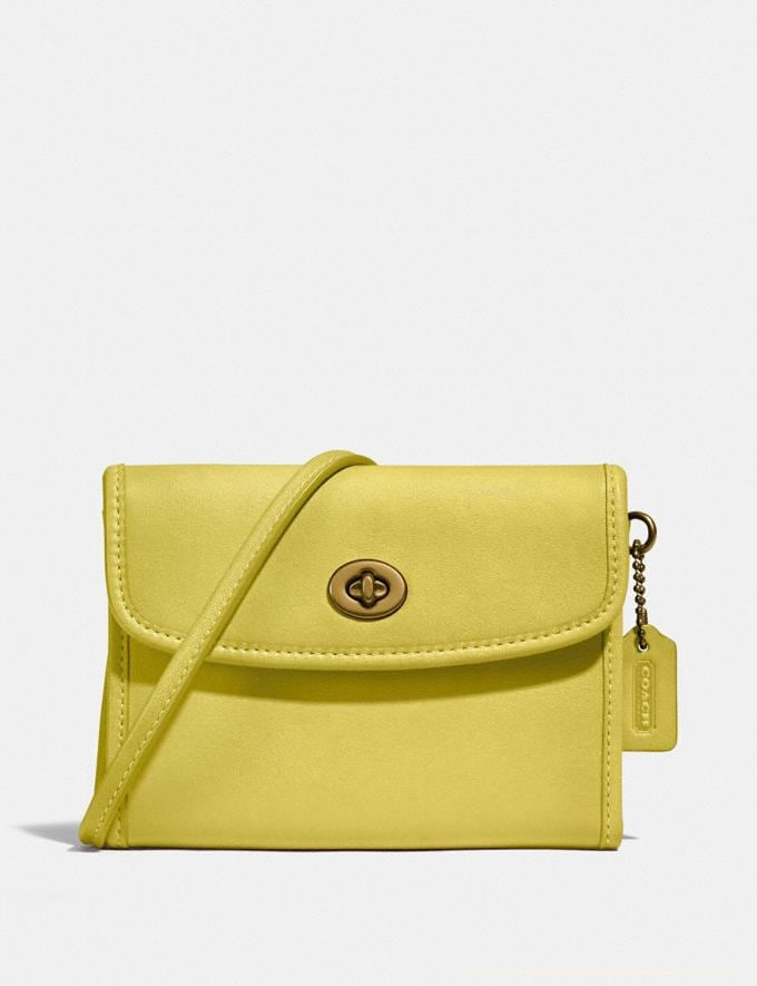 Coach Turnlock Flap Wallet B4/Chartreuse New Women's New Arrivals