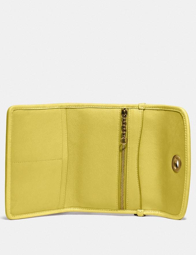 Coach Turnlock Flap Wallet B4/Chartreuse New Women's New Arrivals Alternate View 1