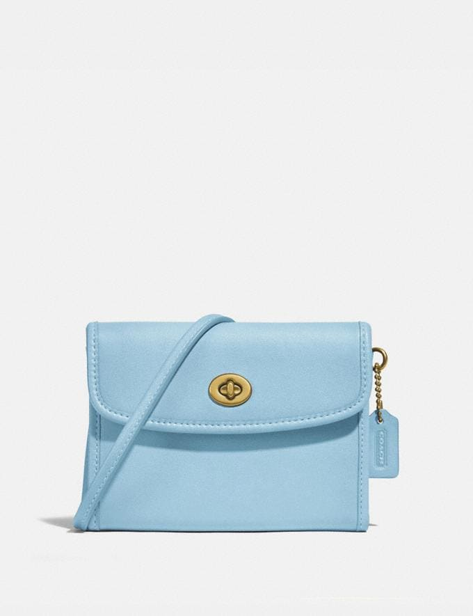Coach Turnlock Flap Wallet B4/Waterfall New Women's New Arrivals