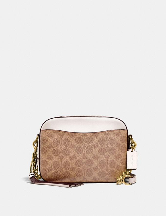 Coach Camera Bag in Signature Canvas Tan/Chalk/Brass Women Collection Signature Styles