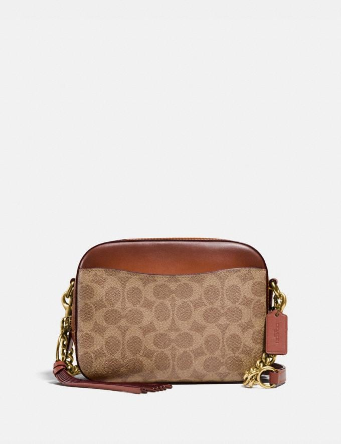 Coach Camera Bag in Signature Canvas Rust/Brass Women Bags Mini Bags