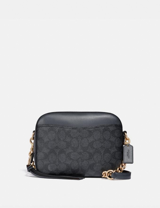 Coach Camera Bag in Signature Canvas Charcoal Midnight Navy