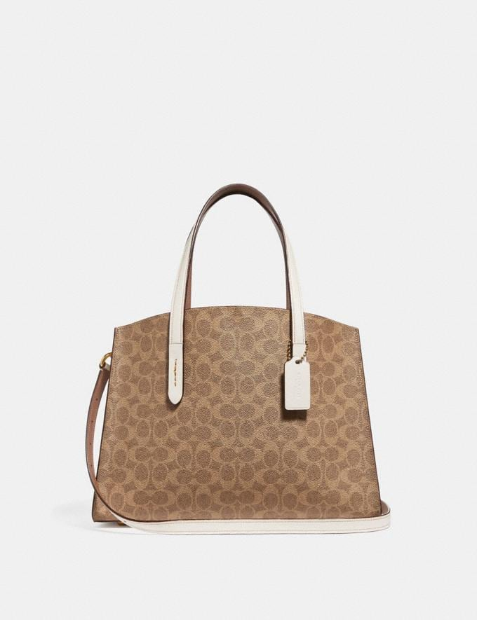 Coach Charlie Carryall in Signature Canvas Chalk/Brass Women Collection Signature