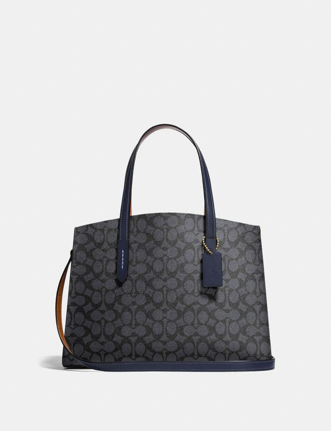 Coach Charlie Carryall in Signature Canvas Charcoal/Midnight Navy/Light Gold Women Bags Satchels & Carryalls