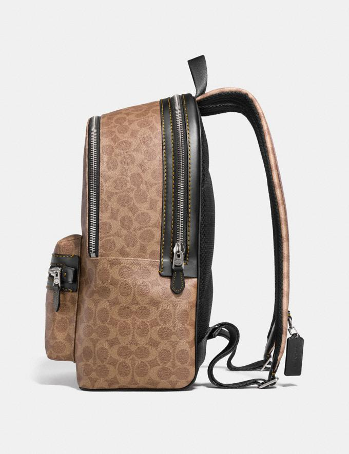 Coach Academy Backpack in Signature Canvas Khaki/Black Copper Finish Men Edits Travel Alternate View 1