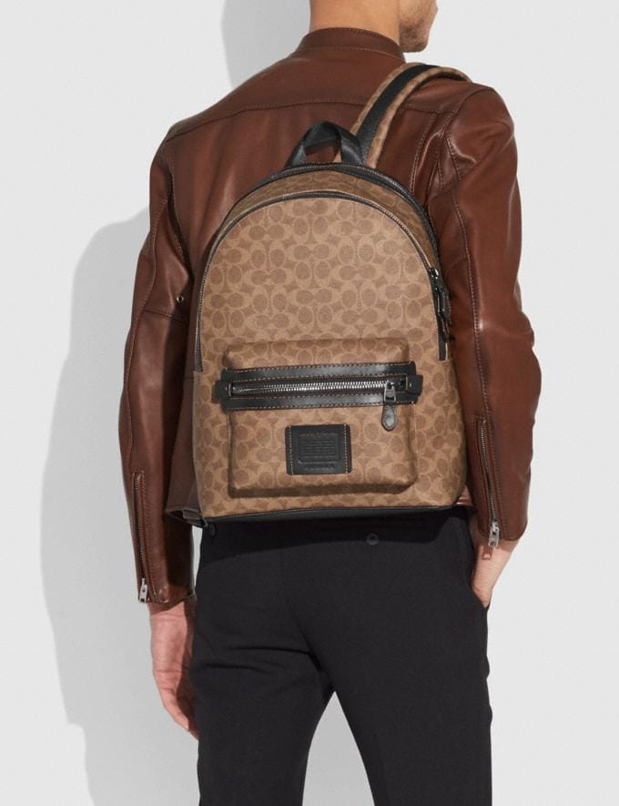 Coach Academy Backpack in Signature Canvas Khaki/Black Copper Finish Men Edits Travel Alternate View 3